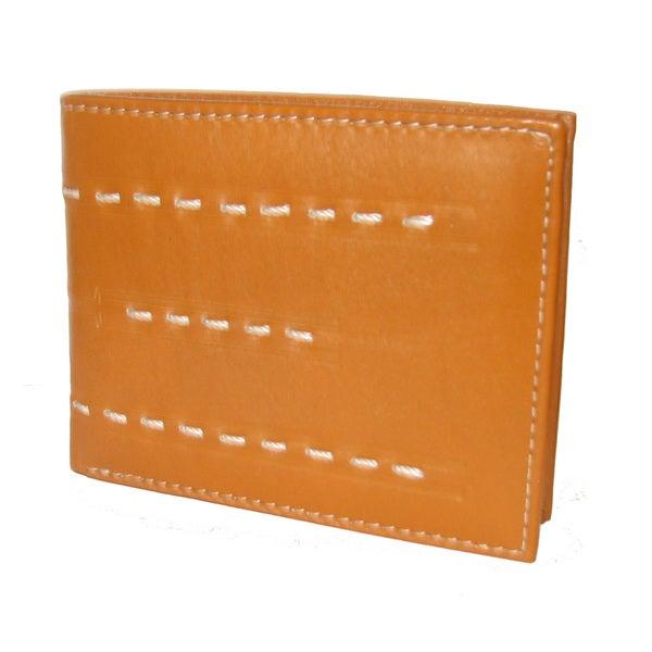 Stitch Designed Genuine Leather Cowhide Bifold Wallet