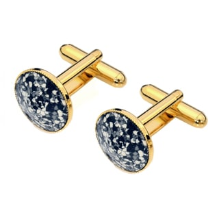 EJ Sutton Goldtone Black/ White Classic Round Marble Cufflinks (Israel)