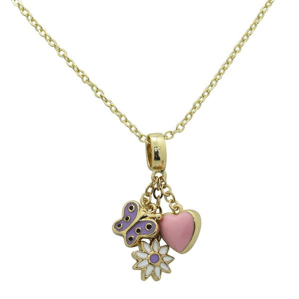 Junior Jewels Enamel Heart, Flower and Butterfly Pendant