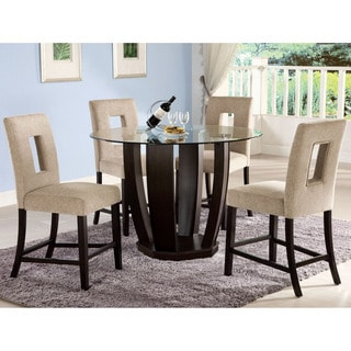 Furniture of America Eventhe 5-Piece Round Glass Counter Height Dining Set