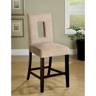 Furniture of America Eventhe Beige Linen Counter Height Chairs (Set of 2)