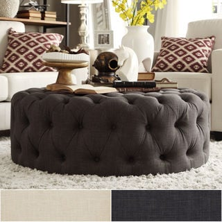 TRIBECCA HOME Knightsbridge Round Linen Tufted Cocktail Ottoman with Casters