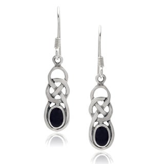 Journee Collection Sterling Silver Gemstone Handcrafted Celtic Earrings