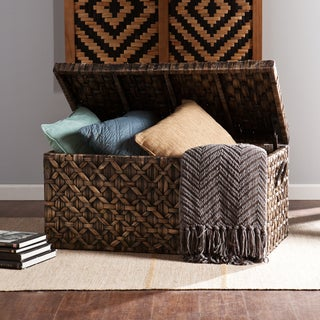 Upton Home Blackwashed Water Hyacinth Storage Trunk