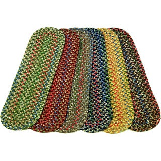 "Katie Reversible Braided Stair Treads by Rhody Rug (Set of 4) - 8"" x 28"" Oval"