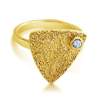 Belcho Textured Triangle with Cubic Zirconia Accent Ring