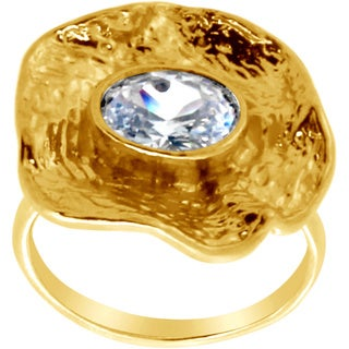 Belcho Wrinkled Flower with Oval CZ Ring