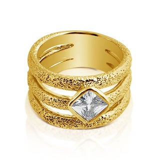 Belcho Triple Band Cubic Zirconia Square Center Ring