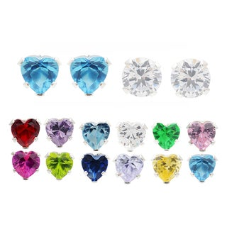 Journee Collection Sterling Silver Cubic Zirconia Stud Earrings (Set of 2)