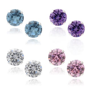 Journee Collection Sterling Silver CZ Set of 4 Round Stud Earrings
