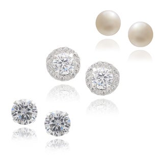 Journee Collection Sterling Silver Cubic Zirconia Stud Earrings (Set of 3)