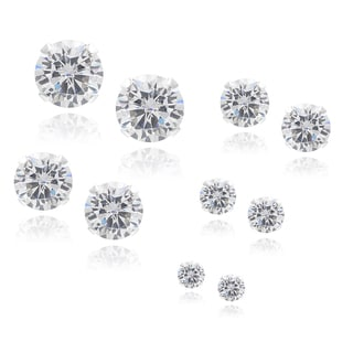 Journee Collection Sterling Silver Cubic Zirconia Round Stud Earrings (Set of 5)