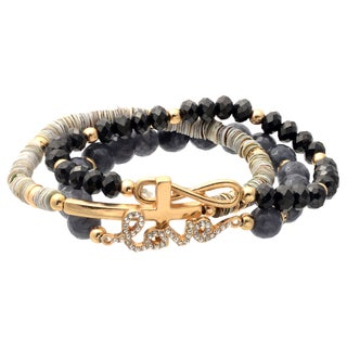 Journee Collection Fashion Bead Love Cross Infinity Bracelet (Set of 3)