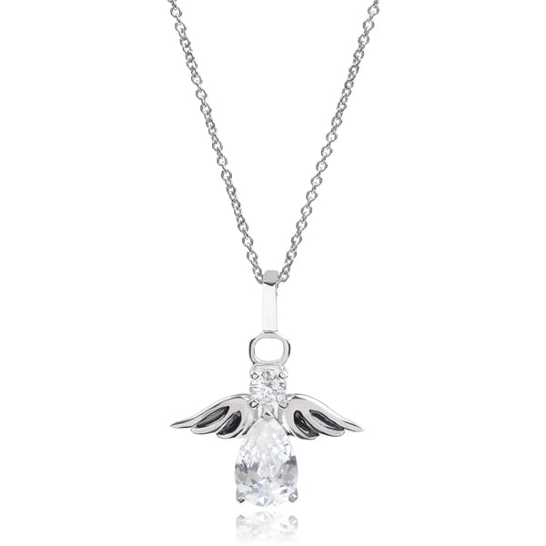 Tressa Collection Sterling Silver Cubic Zirconia Angel Pendant
