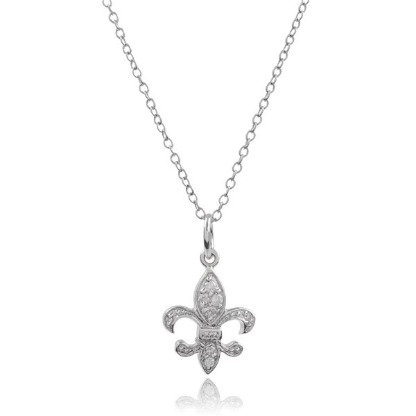 Tressa Collection Sterling Silver Cubic Zirconia Fleur-de-lis Pendant