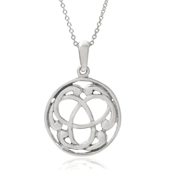 Journee Collection Sterling Silver Trinity in Circle Pendant