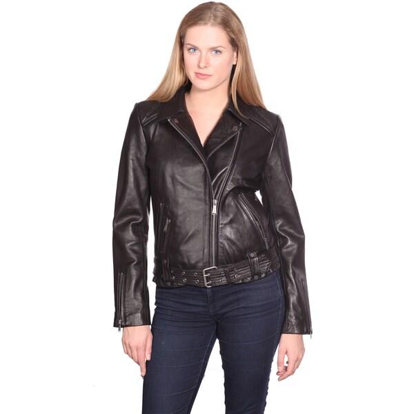 NuBorn Leather Women's Monica Leather Moto Jacket 14256437