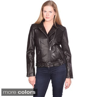 NuBorn Leather Women's Monica Leather Moto Jacket
