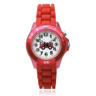 Journee Collection Kid's Fire Truck Light Up Round Face Silicone Band Watch