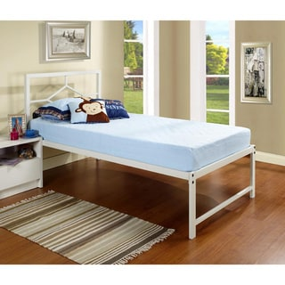 K & B Twin-size Metal Complete Bed with Pop Up Trundle