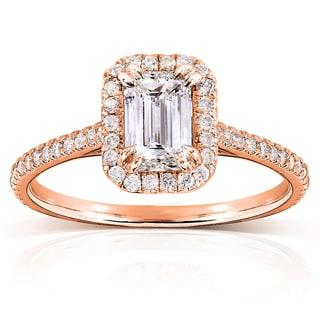 Annello 14k Rose Gold 1 1/3ct TDW Emerald-cut Diamond Halo Engagement Ring (H-I, I1-I2)