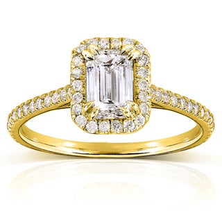 Annello 14k Yellow Gold 1 1/3ct TDW Emerald-cut Diamond Halo Engagement Ring (H-I, I1-I2)