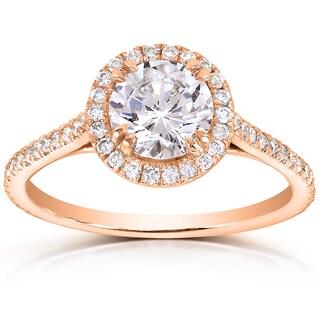 Annello 14k Rose Gold 1 1/3ct TDW Round-cut Diamond Halo Engagement Ring (H-I, I1-I2)