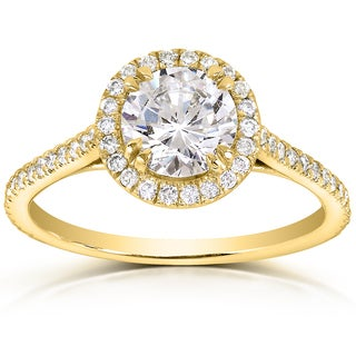 Annello 14k Yellow Gold 1 1/3ct TDW Round-cut Diamond Halo Engagement Ring (H-I, I1-I2)