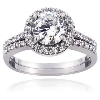 ICZ Stonez Sterling Silver Round-cut Cubic Zirconia Bridal Engagement Ring Set