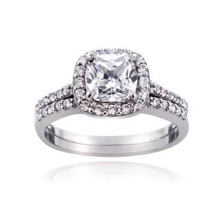 ICZ Stonez Sterling Silver 2 7/8ct TGW Cubic Zirconia Cushion-cut Bridal Engagement Ring Set