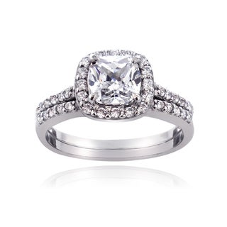 ICZ Stonez Sterling Silver 2 7/8ct TGW Cubic Zirconia Cushion-cut Bridal Engagement Ring Set