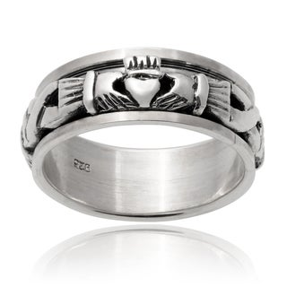 Vance Co. Men's Sterling Silver Claddagh Spinner Band (9 mm)