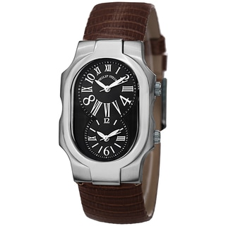 Philip Stein Women's 1-MB-ZBR 'Signature' Black Dial Brown Leather Strap Dual Time Quartz Watch