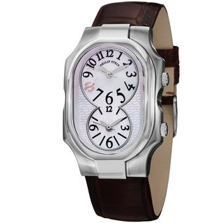 Philip Stein Women's 1-MOPGR-ACHS 'Signature' Mother of Pearl Dial Brown Strap Dual Time Quartz Watch