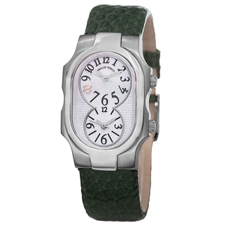 Philip Stein Women's 1-MOPGR-CGG 'Signature' Mother of Pearl Dial Green Strap Dual Time Quartz Watch