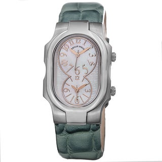 Philip Stein Women's 1-MOPRG-LAGR 'Signature' Mother Of Pearl Dial Aqua Leather Strap Quartz Watch
