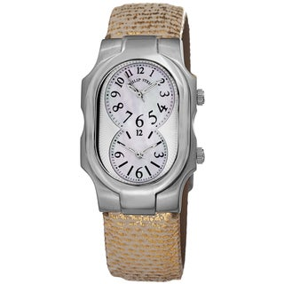 Philip Stein Women's 1-NFMOP-UG 'Signature' Mother Of Pearl Dial Gold Metallic Strap Quartz Watch
