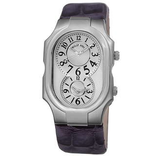 Philip Stein Women's 2-NFW-LAPR 'Signature' Silver Dial Purple Leather Strap Dual Time Quartz Watch
