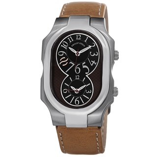 Philip Stein Men's 2-BRN-CSTC 'Signature' Brown Leather Strap Dual Time Quartz Watch