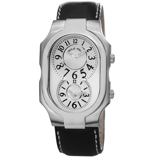 Philip Stein Men's 2-NFW-CSTB 'Signature' Silver Dial Black Leather Strap Dual Time Watch