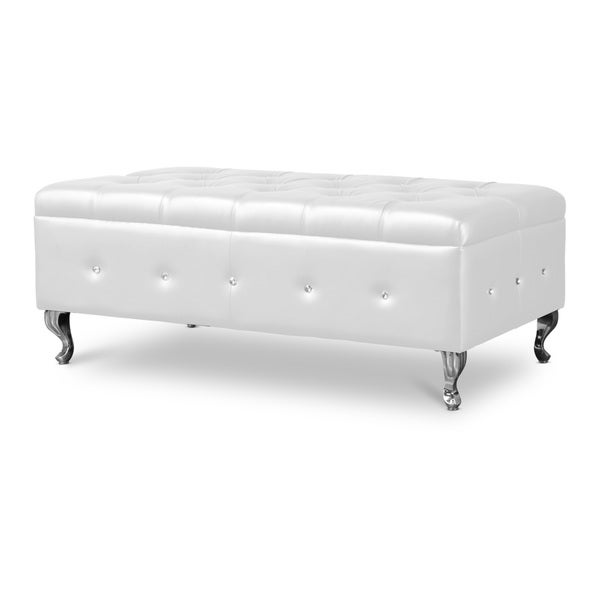Baxton studio brighton button tufted upholstered modern bedroom bench in white White upholstered bench