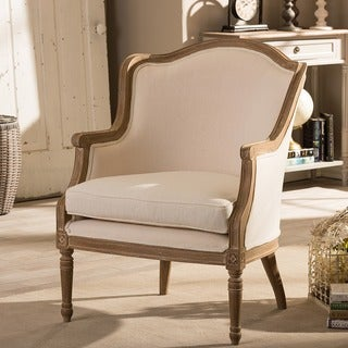 Baxton Studio Charlemagne Traditional French Accent Chair in Brown Oak Wood Finish