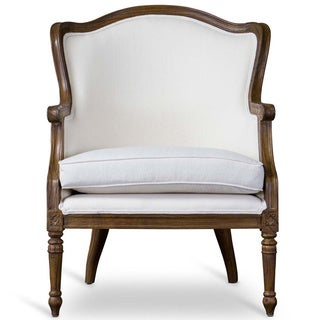 Baxton Studio Charlemagne Traditional French Accent Chair in Ash wood finish