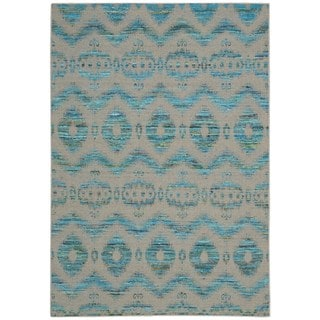 Rug Squared Olympia Turquoise/ Grey Rug (3'9 x 5'9)