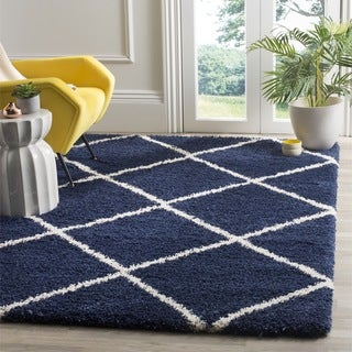 Safavieh Hudson Diamond Shag Navy Background and Ivory Rug (6' x 9')