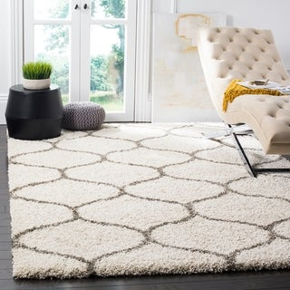 Safavieh Hudson Ogee Shag Ivory Background and Grey Rug (6' x 9')