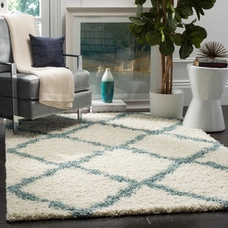 Safavieh Dallas Shag Ivory/ Light Blue Rug (6' x 9')