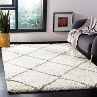 Safavieh Hudson Diamond Shag Ivory Background and Grey Rug (5'1 x 7'6)