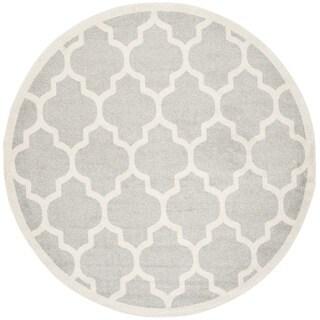 Safavieh Indoor/ Outdoor Amherst Light Grey/ Beige Rug (9' Round)