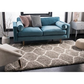 Safavieh Hudson Ogee Shag Grey Background and Ivory Rug (5'1 x 7'6)